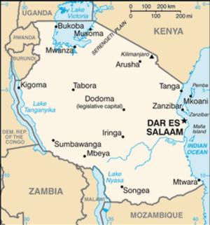 Geography of Tanzania - Map of Tanzania