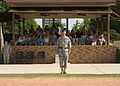 U.S. Army Brig. Gen. Alan R. Lynn, commander, of 311th Signal Command stands in front of the seating stand, at Signal Center commanding general change of command ceremony, in Fort Gordon, Ga., July 21, 2010 100721-A-NF756-038.jpg