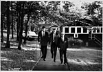 U.S. Senator Edward (Ted) Kennedy, Sol C. Chaikin, and David Gingold tour the grounds at Unity House, July 1, 1965. (5278931693).jpg