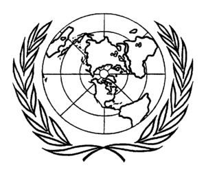 United Nations Charter - Insignia appeared in the frontispiece of the charter, prototype of the current logo of the United Nations