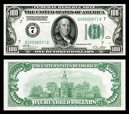Obverse and reverse of an old American $100 note (1928)