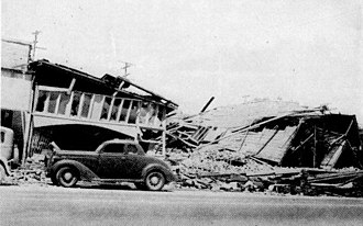 1940 El Centro earthquake - Collapsed buildings in Imperial, California, in which four people died