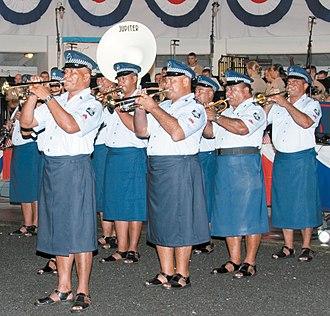 Lava-lava - Samoan police band, wearing lava-lavas
