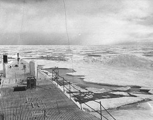 View from the bow of the Boarfish in the Chukchi Sea in 1947