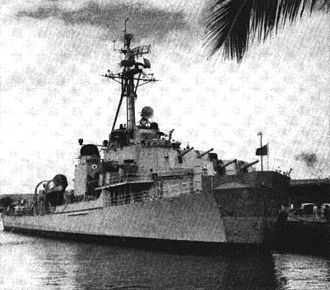 USS Mansfield - Mansfield with a temporary bow after being mined in 1950.
