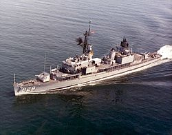 USS Myles C Fox (DD-829) underway in early 1970s.jpg