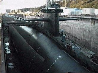 USS Nevada (SSBN-733) - USS Nevada in drydock.