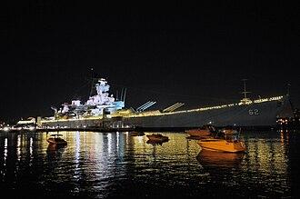 Camden Waterfront - Image: USS New Jersey Night