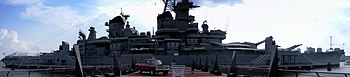 English: A panorama shot of the U.S.S. New Jer...