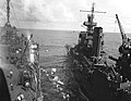 USS Portland (CA-33) transfers survivors of USS Yorktown (CV-5) to USS Fulton (AS-11), 7 June 1942 (80-G-312028).jpg
