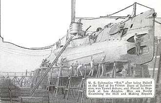 USS R-6 (SS-83) - R-6 being reconditioned in drydock after sinking in 1921.