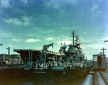 Washington passing through the Panama Canal with Enterprise in October 1945 USS Washington (BB-56) and USS Enterprise (CV-6) in the Panama Canal, October 1945.jpg