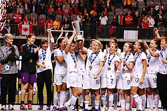Sydney Leroux - Leroux (fourth from left) celebrates with her national teammates after winning first place at the 2012 CONCACAF Olympic Qualifiers.