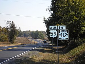 Special route - Sign for Scenic US-412 in Kansas, Oklahoma, concurrent with US-59.