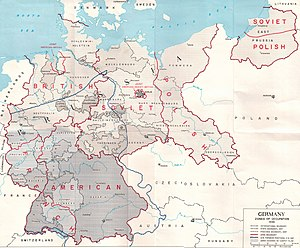 Rape during the occupation of Germany - Territorial changes and occupational zones of Nazi Germany after its defeat. Includes the front-line along the Elbe from which U.S. troops withdrew in July 1945