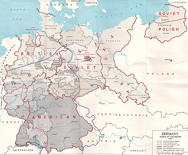 Territorial changes and occupational zones of Nazi Germany after its defeat. Includes the front-line along the Elbe from which U.S. troops withdrew in July 1945 US Army Germany occupation zones 1945.jpg