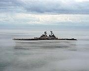 US Navy 060115-N-6282K-001 The amphibious assault ship USS Iwo Jima (LHD 7) shown operating in dense fog in the Atlantic Ocean