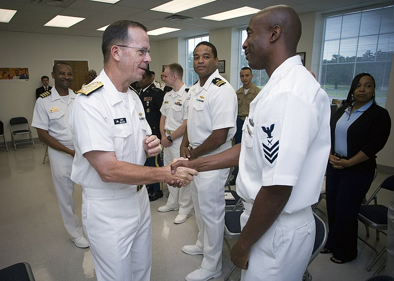 File us navy 070727 n 0696m 244 chief of naval operations cno adm mike mullen greets yeoman - Chief operating officer qualifications ...