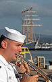 US Navy 071004-N-0879R-011 A Sailor from U.S. Pacific Fleet Band plays as Chilean tall ship Esmeralda (BE 43) makes her way pierside to Naval Station Pearl Harbor.jpg