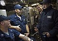 US Navy 090108-N-3333H-007 Sailors share a moment before getting underway aboard the Virginia-class attack submarine USS Virginia (SSN 774).jpg