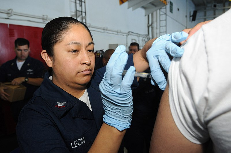 File:US Navy 090418-N-3610L-012 Hospital Corpsman 2nd Class Virginia Leon administers an anthrax booster to a Sailor aboard the aircraft carrier USS Ronald Reagan (CVN 76).jpg Description  English: PACIFIC OCEAN (April 18, 2009) Hospital Corpsman 2nd Class Virginia Leon administers an anthrax booster to a Sailor aboard the aircraft carrier USS Ronald Reagan (CVN 76). Ronald Reagan is underway conducting Fleet Replacement Squadron Carrier Qualifications in the Pacific Ocean. (U.S. Navy photo by Mass Communications Specialist 3rd Class Torrey W. Lee/Released) Date 18 April 2009 Source  Seal of the United States Department of the Navy.svg   This Image was released by the United States Navy with the ID 090418-N-3610L-012 (next). This tag does not indicate the copyright status of the attached work. A normal copyright tag is still required. See Commons:Licensing.  العربية | বাংলা | Deutsch | English | español | euskara | فارسی | français | italiano | 日本語 | 한국어 | македонски | മലയാളം | Plattdüütsch | Nederlands | polski | پښتو | português | svenska | Türkçe | українська | 中文 | 中文(简体) | +/− Flag of the United States.svg Author U.S. Navy photo by Mass Communications Specialist 3rd Class Torrey W. Lee