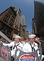 US Navy 090521-N-4856C-240 Aviation Structural Mechanic 3rd Class Michael Spiegler and Aviation Structural Mechanic 3rd Class Dustin Davis ride a double-decker tour bus in Manhattan during Fleet Week New York City 2009.jpg