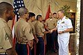 US Navy 100327-N-8273J-029 Chief of Naval Operations (CNO) Adm. Gary Roughead meets with members of the Marine Security detachment at the U.S. Embassy in Riyadh.jpg