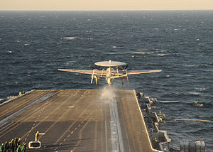 US Navy 111213-N-RB391-035 An E-2C Hawkeye takes off from the aircraft carrier USS Enterprise (CVN 65).jpg