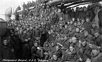 SS Ohioan (1914) - U.S. soldiers crowd the deck during their return home on USS Ohioan
