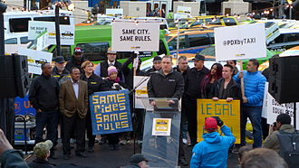 Legality of TNCs by jurisdiction - A protest against Uber in Portland, Oregon in January 2015