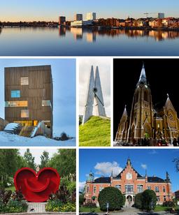 Øverst:   vy over centrum med Umeälven, Bildmuseet, Skin 4 på Kunstnerisk campus, Umeå bys kirke, Det leende hjerte, Rådhuset
