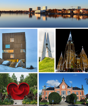 "From top: View over downtown showing Ume River, The Picture Museum, ""Skin 4"" at Umeå Arts Campus, Umeå City Church, the Heart Smiley, Umeå Town Hall"