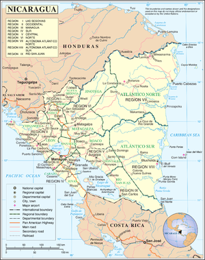 Outline of Nicaragua - An enlargeable map of the Republic of Nicaragua