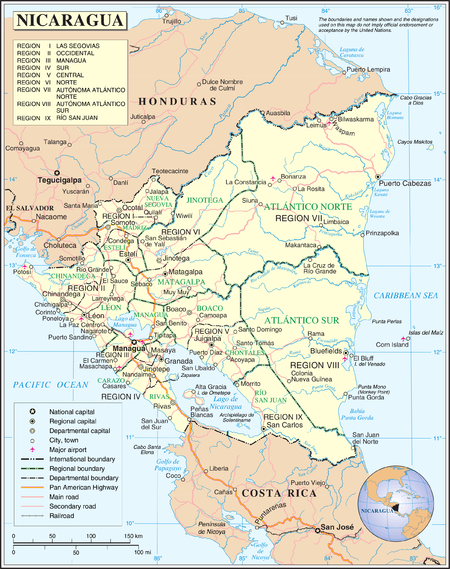 History of nicaragua wikipedia a map of nicaragua gumiabroncs Gallery