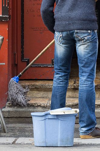Busy work - Chores such as mopping outdoors can be busy work.
