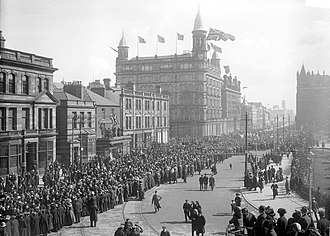 Home Rule Crisis - Unionist march in Belfast, 9 April 1912