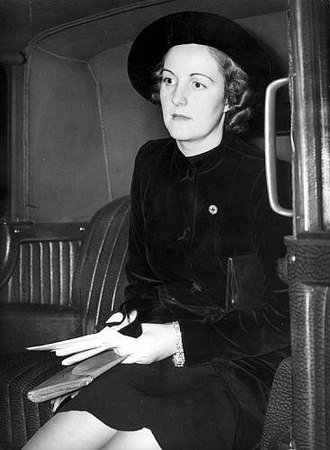 Unity Mitford - Mitford in London in 1938, wearing a Nazi party badge