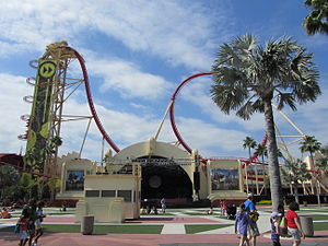 Maurer AG - The non-inverting loop element of Hollywood Rip, Ride, Rockit at Universal Studios Florida - a music X-Coaster.