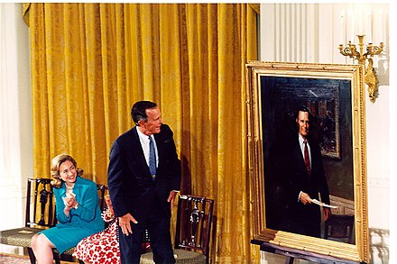 The unveiling of an official portrait of George H. W. Bush at the East Room of the White House, 1995 Unveiling of official George H. W. Bush portrait at the White House, 1995 2.jpg