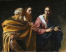 Toile montrant deux hommes barbus, qui regarde un troisième dont le doigt est pointé vers l'avant.