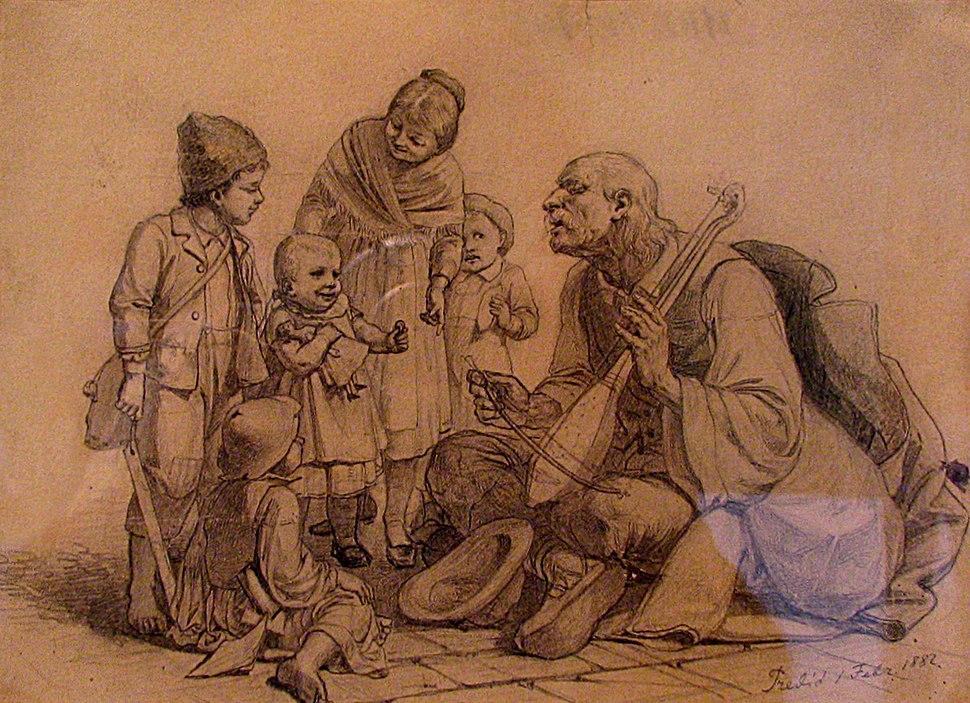 Uroš Predić, The Children around the Guslar, 1882, National Museum of Serbia