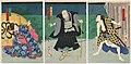Utagawa Kunisada II - Actors Ichimura Kakitsu IV as Fuwa Bansaku, Ichikawa Danzô VI as Ikkyû Hôshi, and Bandô Mitsugorô VI as Koshimoto Iwahashi.jpg