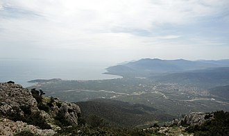 Astros, Greece - Valley of Thyrea, Astros is visible on the right