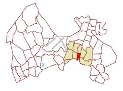 Location on the map of Vantaa, with the district in red and the major region in light brown