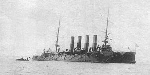 Russian cruiser Varyag (1899) - Varyag damaged after the Battle of Chemulpo Bay, just before being scuttled.