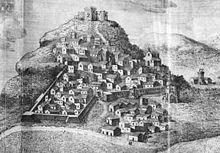 La città di Calatafimi in una vecchia stampa.