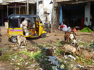 Green waste - Vegetable waste being dumped in a market in Hyderabad, India.