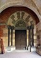 Vercelli, sant'andrea, chiostro, portale dell'agnus dei 01.jpg