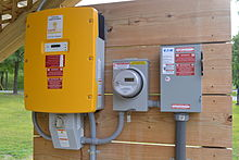 string inverter (left), generation meter, and ac disconnect (right)  a  modern 2013 installation in vermont, united states