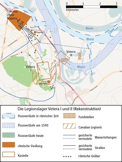 Karte Legionslager Vetera I und Vetera II bei Xanten.